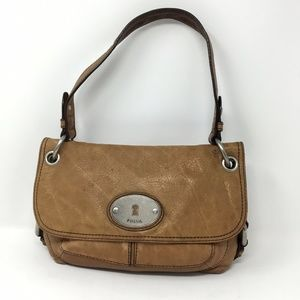 FOSSIL Brown Tan Distressed Leather Shoulder Purse
